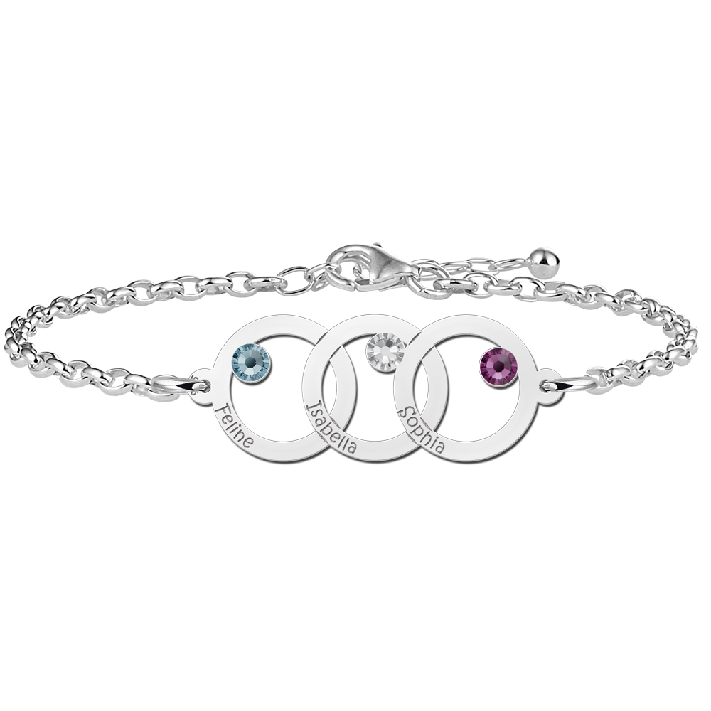 Mother daughter bracelet silver with three circles and birthstone