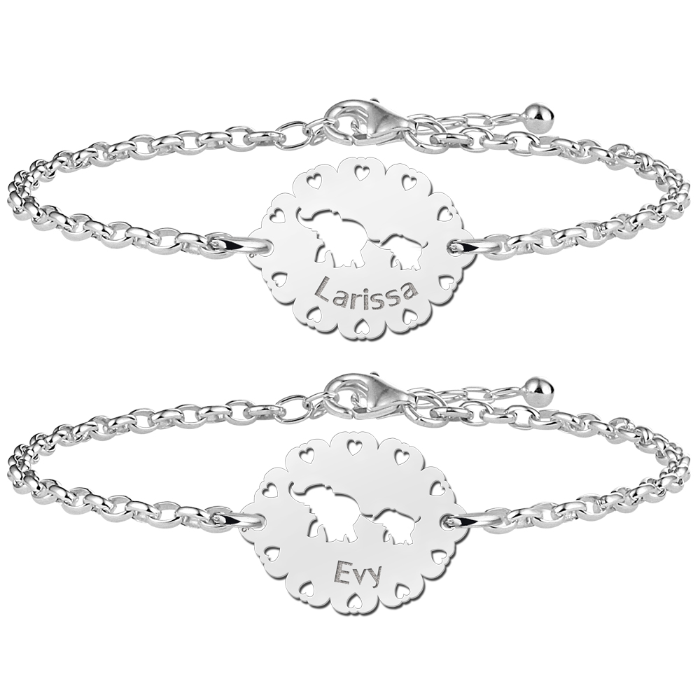Mother daughter bracelets with silver elephants