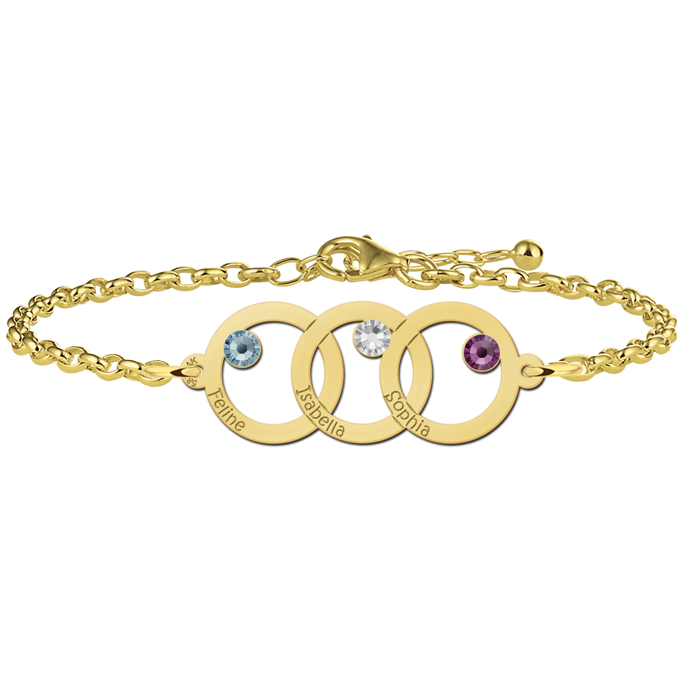 Mother-daughter bracelet gold 3 circles and birthstones