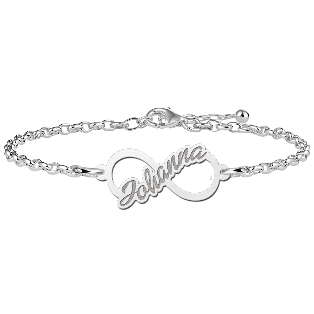Infinity bracelet with name of sterling silver
