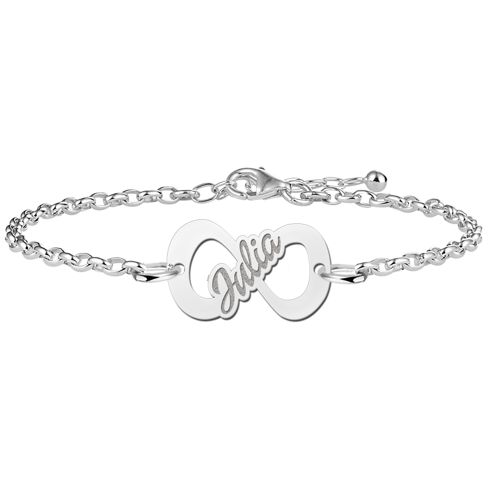 Infinity bracelet of silver with name