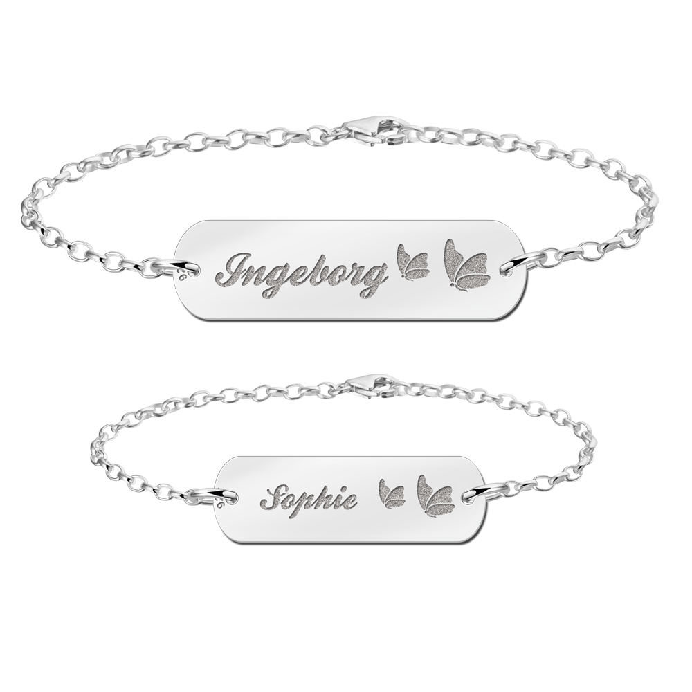 Mother daughter bracelet set silver bar with name and butterflies