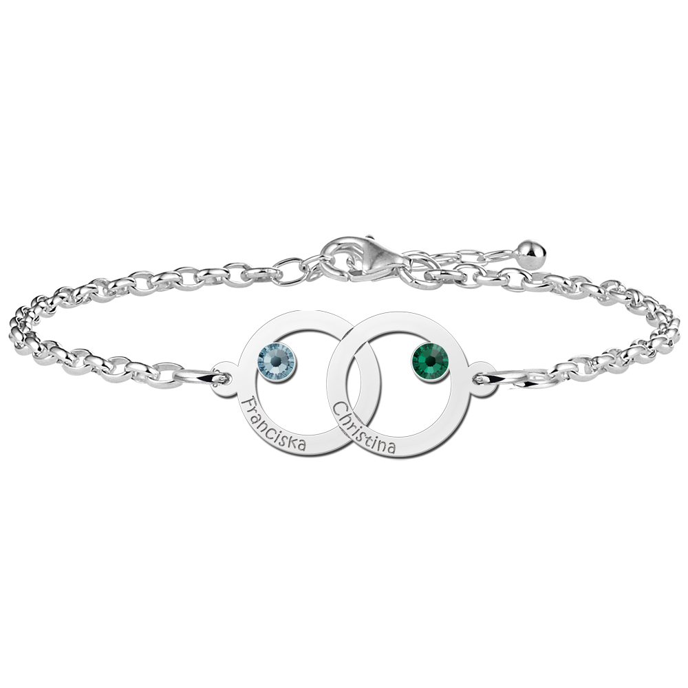 Mother daughter bracelet two circles and birthstones