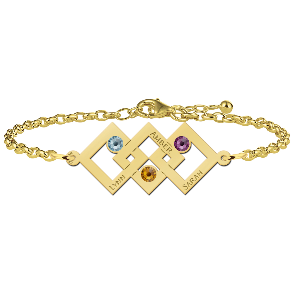 Mother-daughter bracelet gold 3 rectangles and birthstones