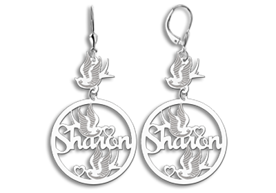 Silver custom earrings with name and birds