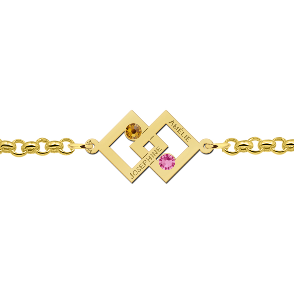 Mother-daughter bracelet gold 2 rectangles and birthstones