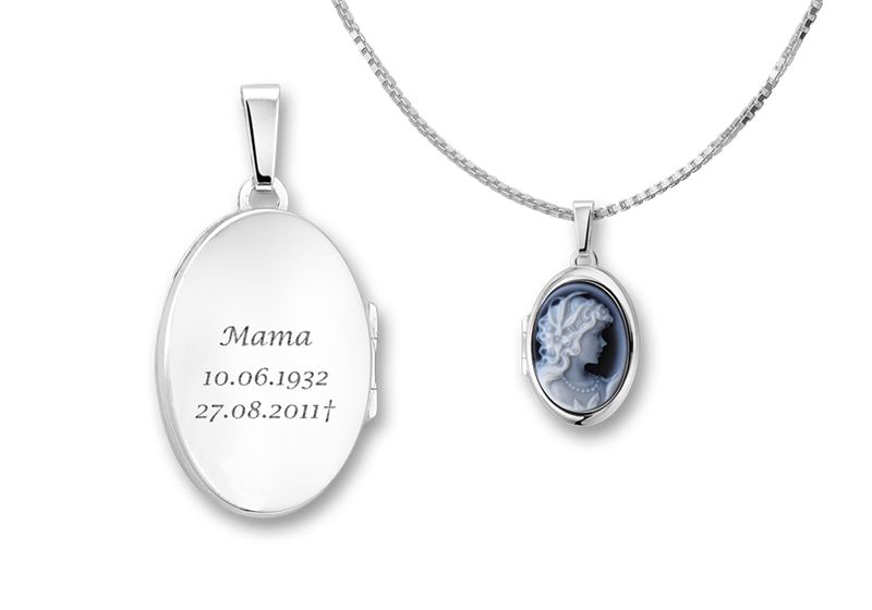 "Silver oval medallion with blue cameo ""Woman"""