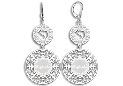 Silver earrings with name and initial