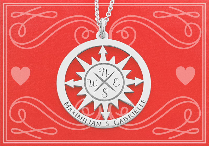 Silver compass pendant with necklace SMALL