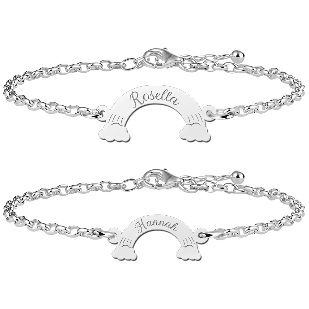 Mother daughter bracelets silver with names in rainbows