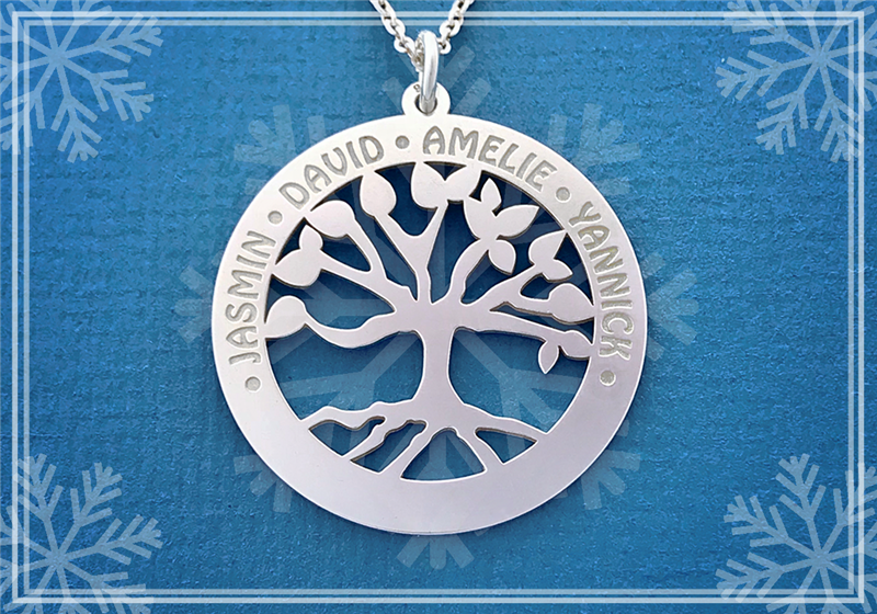 Silver family tree pendant