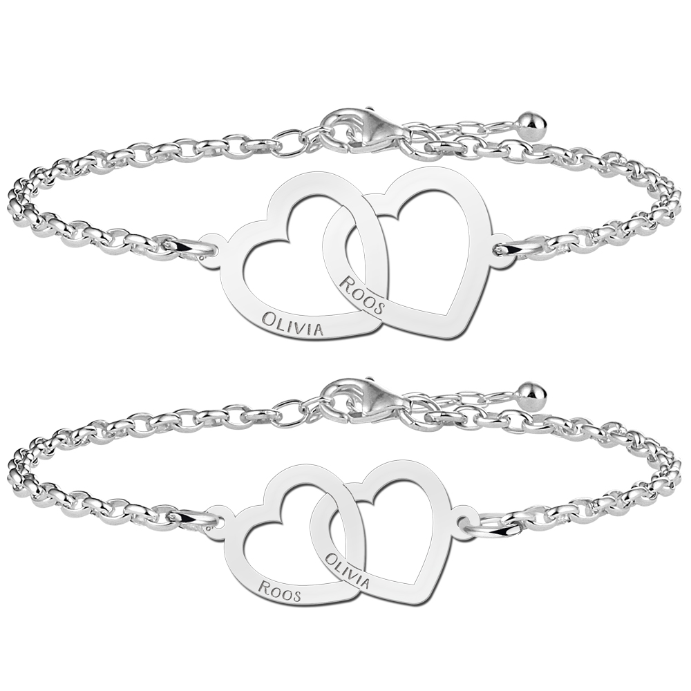 Mother daughter bracelets with hearts together