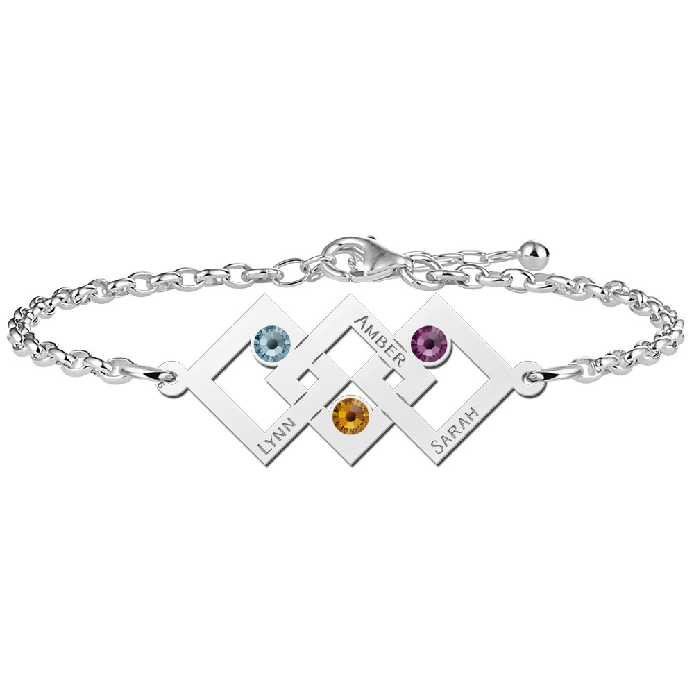 Mother daughter bracelet silver three rectangles and birthstone