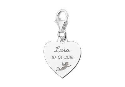 Silver communion charm heart with angel