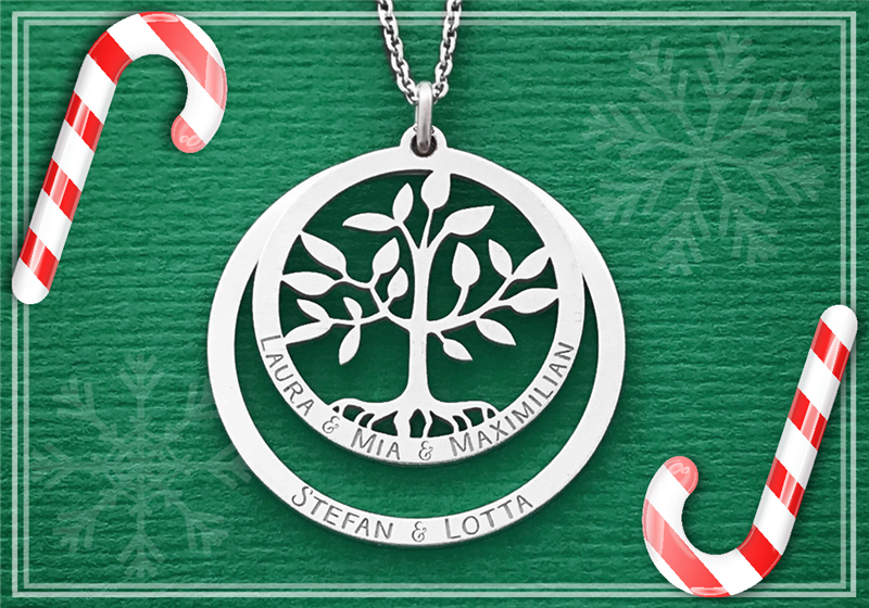 Silver round family pendant with tree of life
