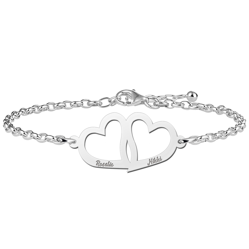 Heart bracelet mother and daughter silver