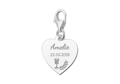 Silver communion charm heart