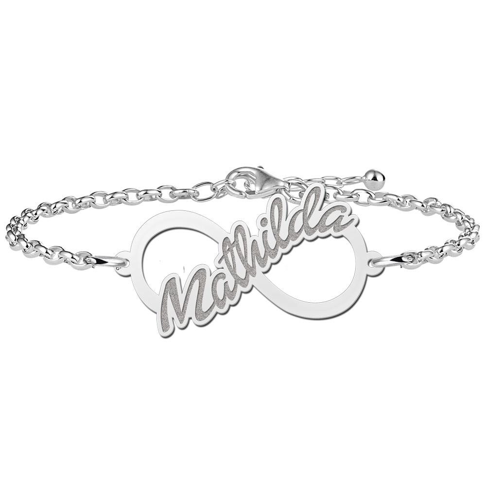 Silver infinity bracelet written name