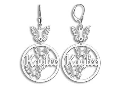 Silver earrings with name and butterflies