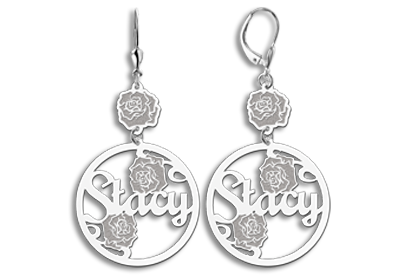 Silver name earrings with roses