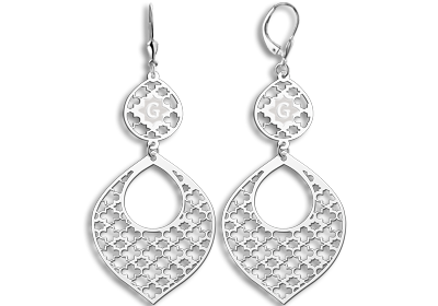 Silver arabic style earrings with initial