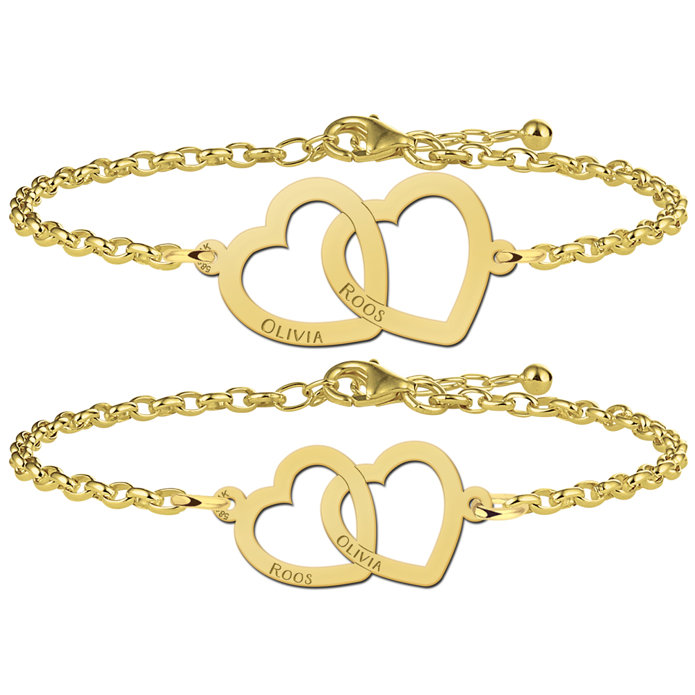 Set golden mother-and-daughter bracelets with hearts together