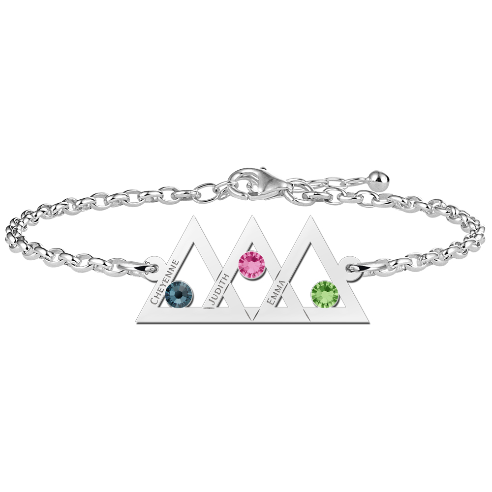 Mother daughter bracelet silver 3 triangles and birthstone