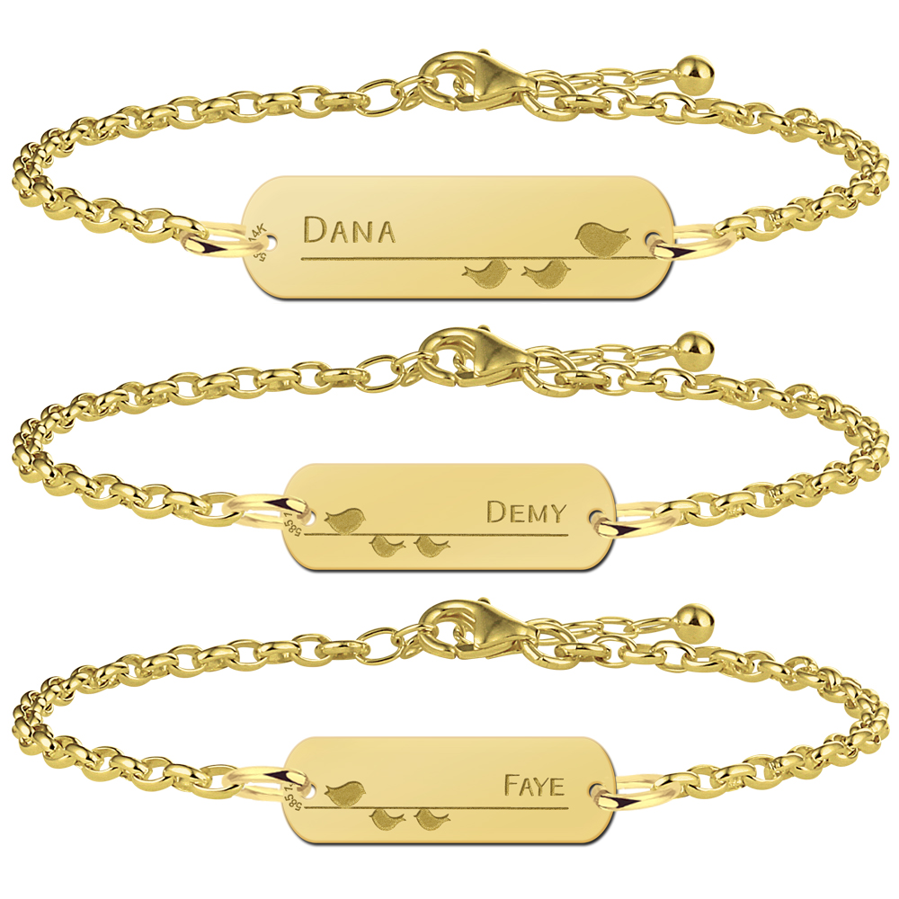 Golden bracelets set mother and two daughters