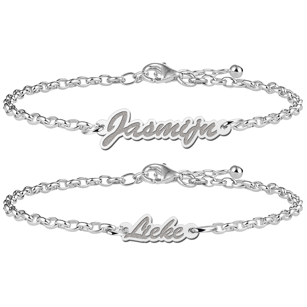 Name bracelets mother and daughter of silver