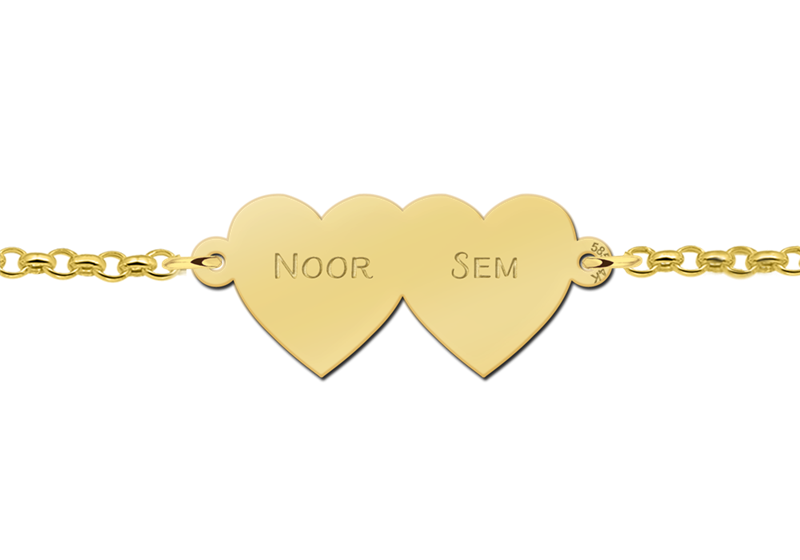 Bracelet with two hearts of gold