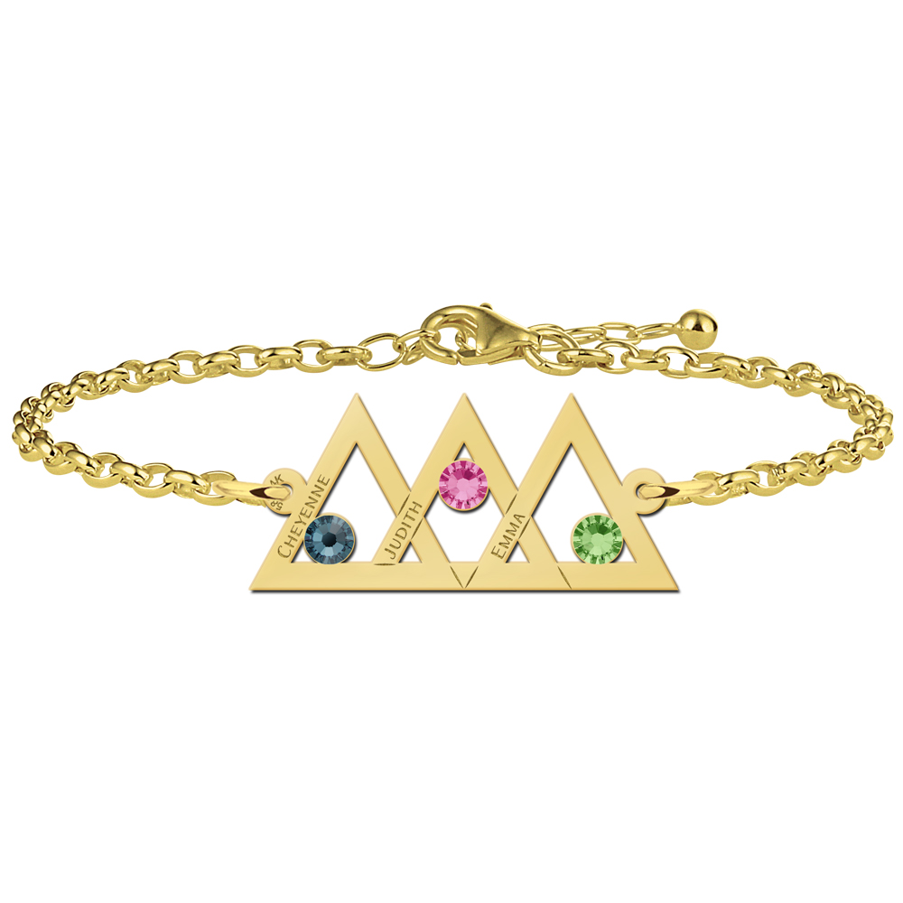 Mother and daughter bracelet gold 3 triangles and birthstones