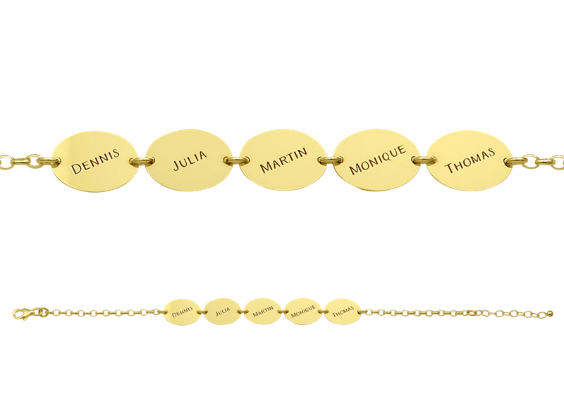 Gold name bracelet with 5 names