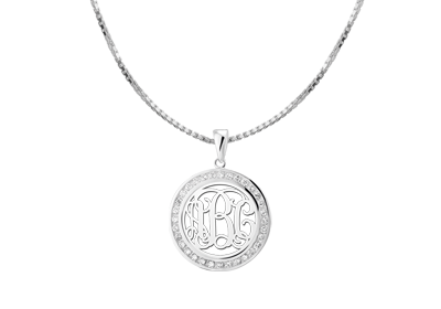 Silver Monogram pendant with Zirkonia