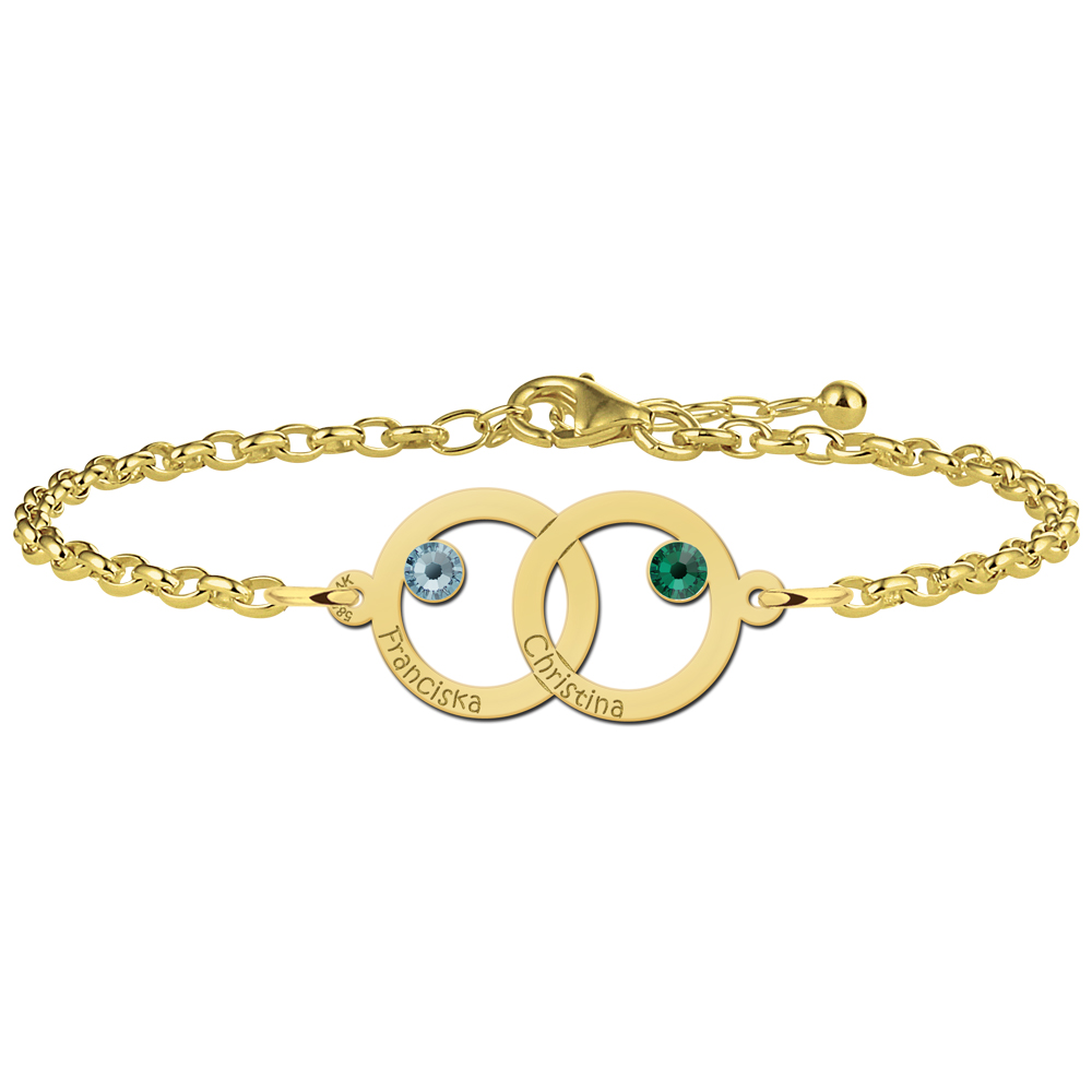 Mother-daughter bracelet gold 2 rounds and birthstones