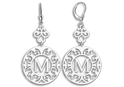 Silver earrings with initial