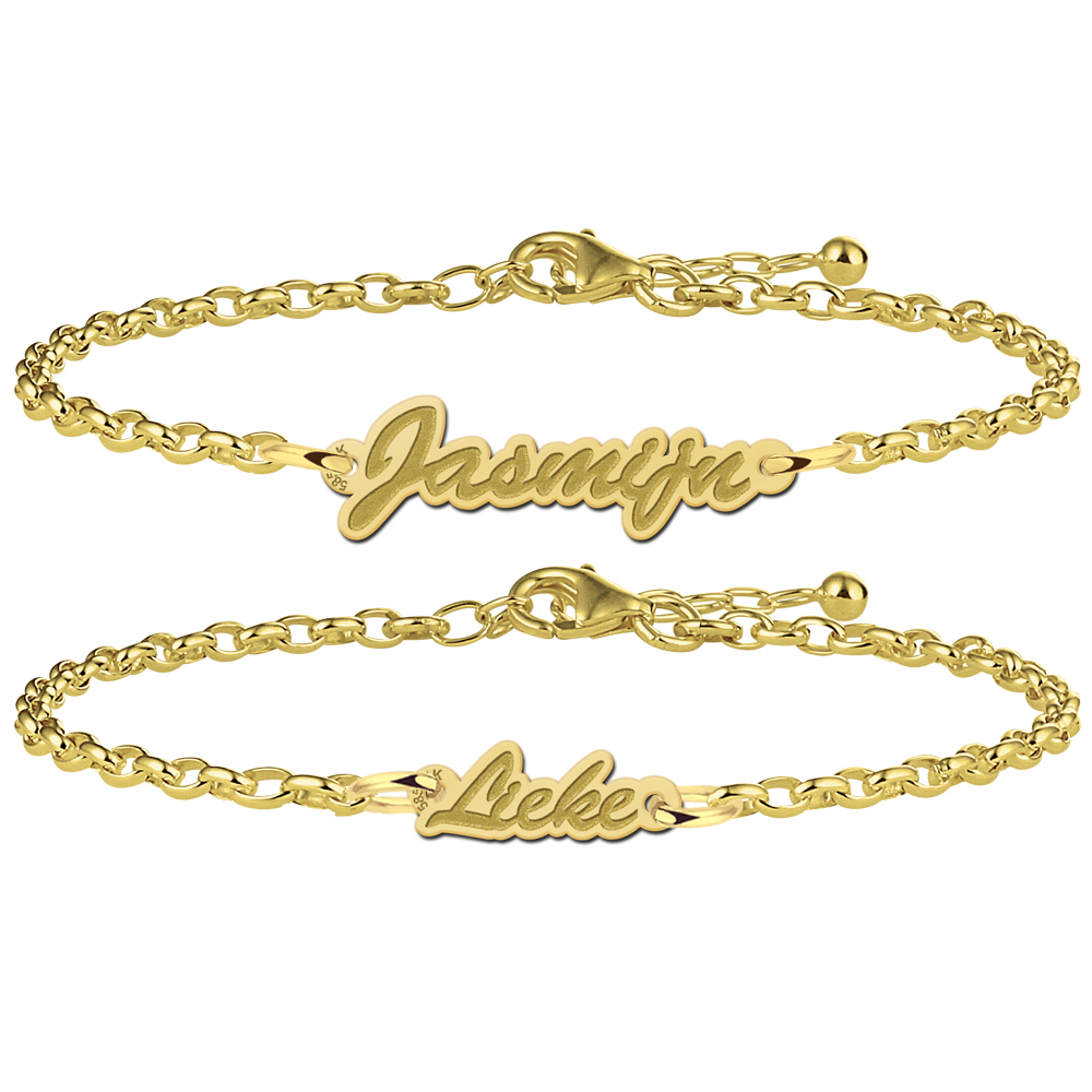 Golden mother-and-daughter bracelets with name
