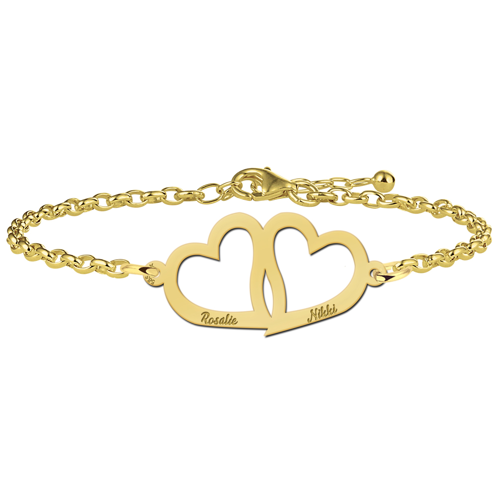 Golden mother-and-daughter bracelet with hearts