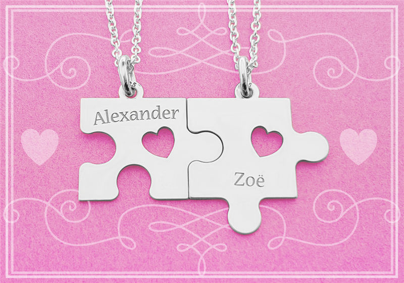 Silver puzzle pendants with necklaces