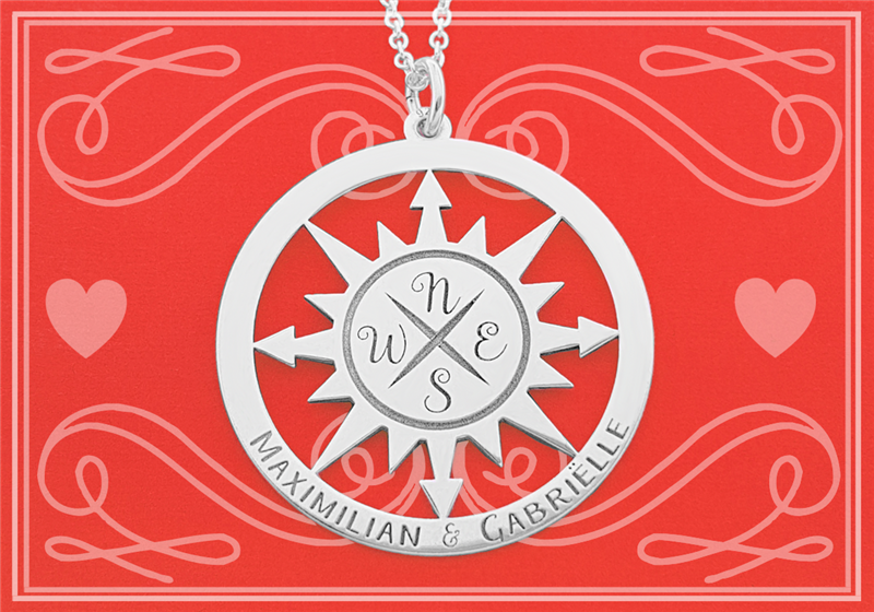 Silver pendant compass with necklace MEDIUM