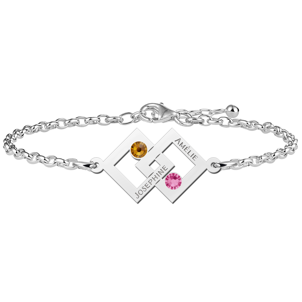 Mother daughter bracelet set silver two rectangles and birthstone