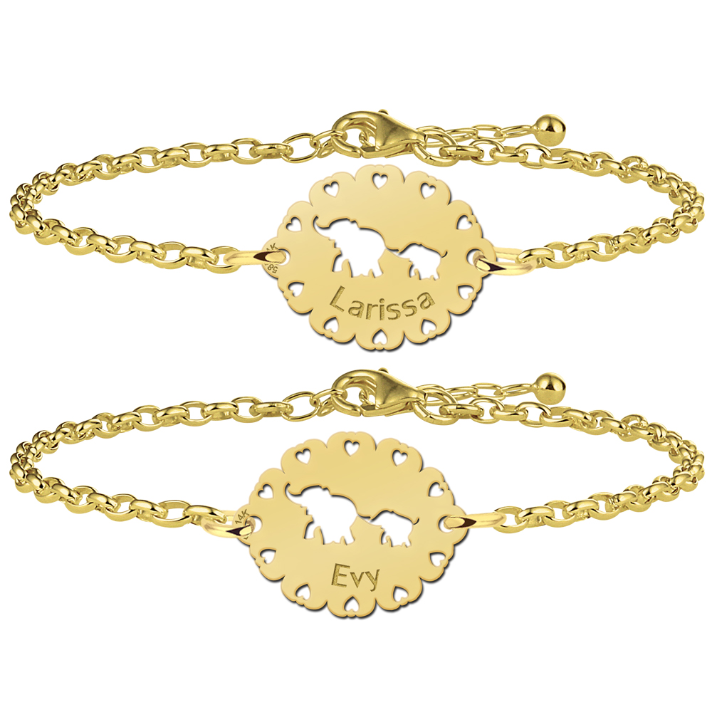 Golden mother-and-daughter bracelets with elephants