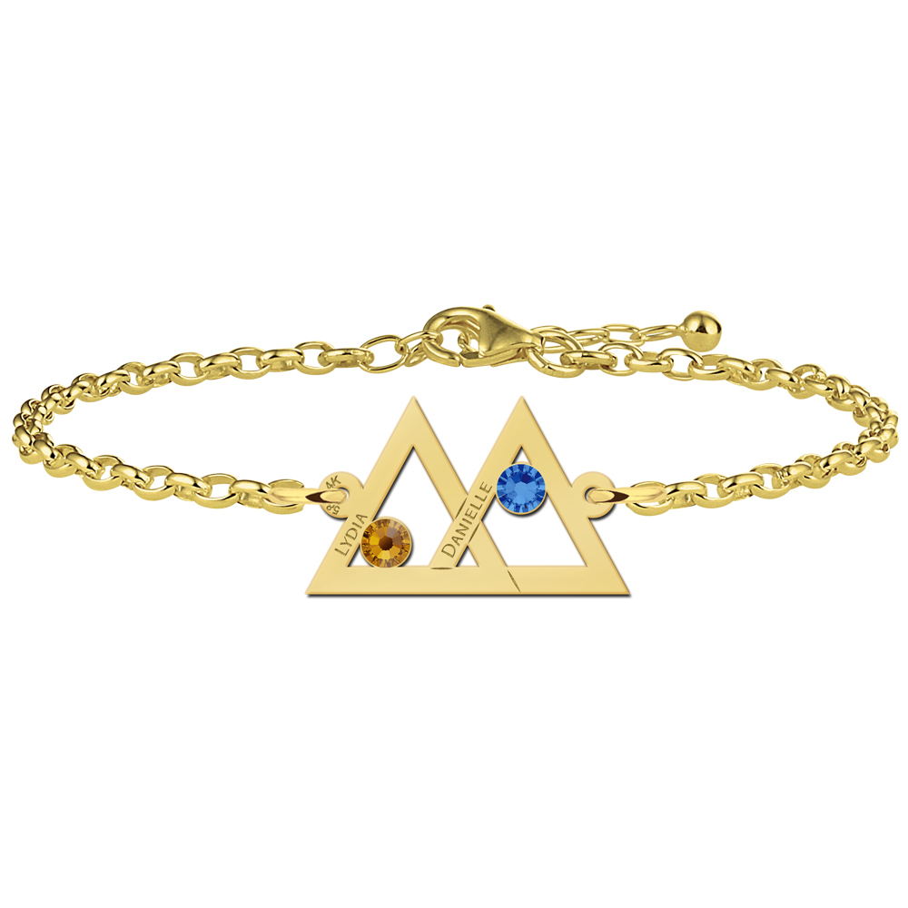 Mother and daughter bracelet gold two triangles birthstones