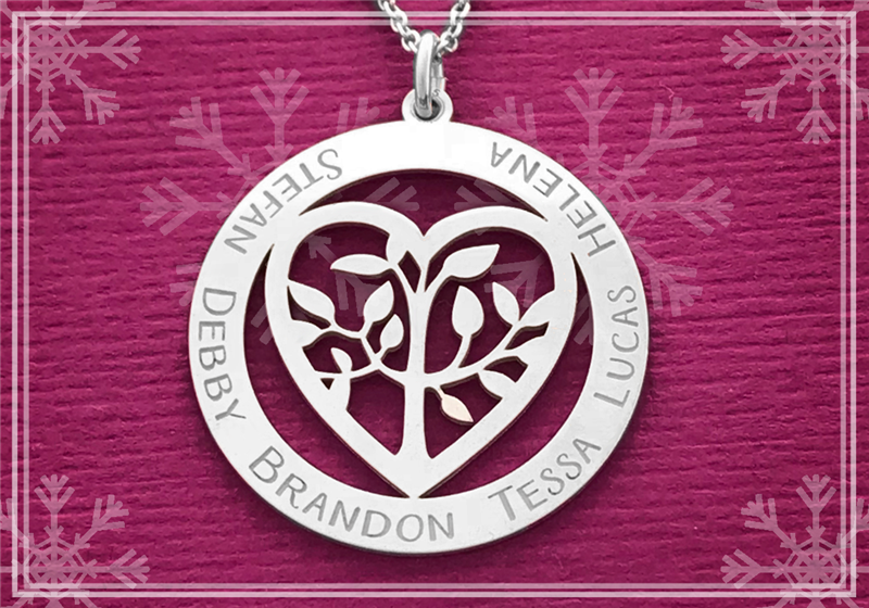 Silver family pendant tree of life