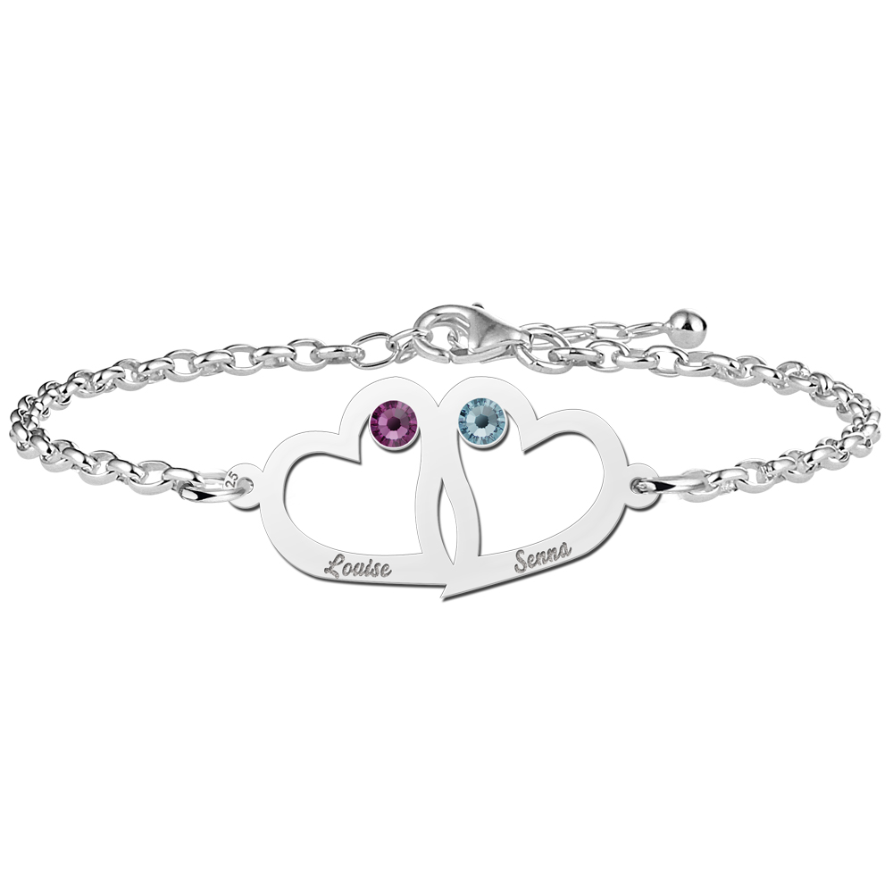 Heart bracelet mother and daughter of silver with birthstone