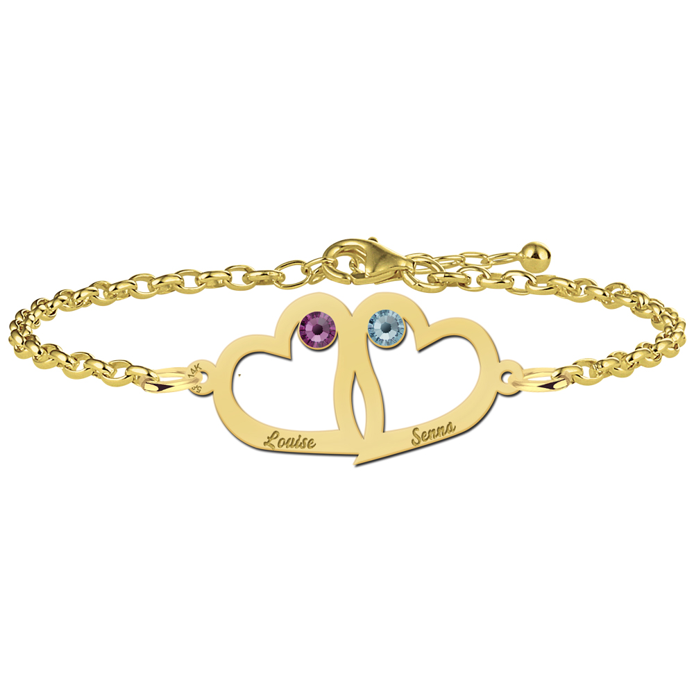 Mother-and-daughter bracelet gold heart and birthstone