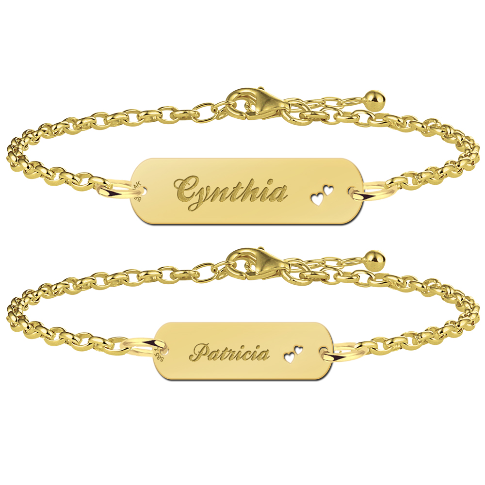 Mother daughter bracelet gold bar with name and little hearts