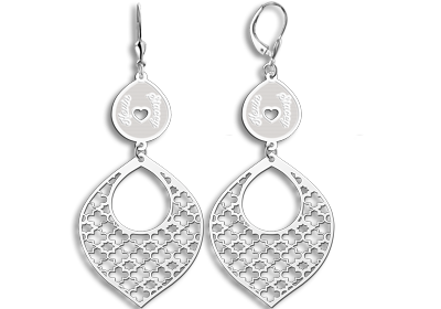 Silver arabic style earrings with names