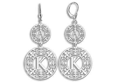 Silver personalised earrings with initials